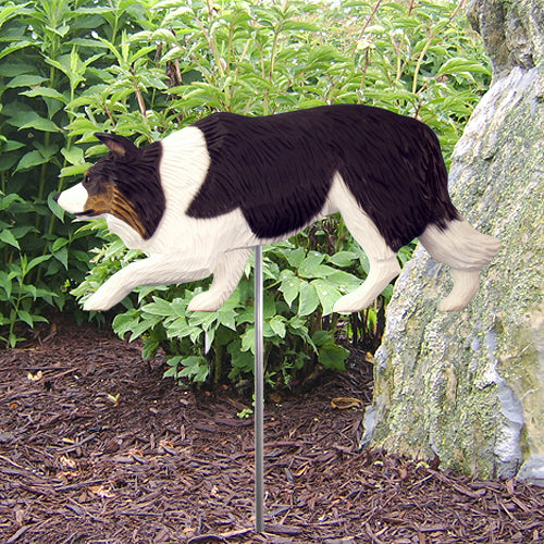 Border Collie Garden Landscaping Stake Black