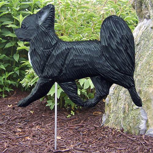 Chihuahua (long hair) Garden Landscaping Stake Black
