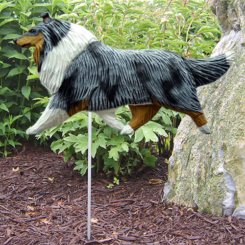 Collie Garden Landscaping Stake Blue