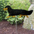 Dachshund (long hair) Garden Landscaping Stake Black and Tan