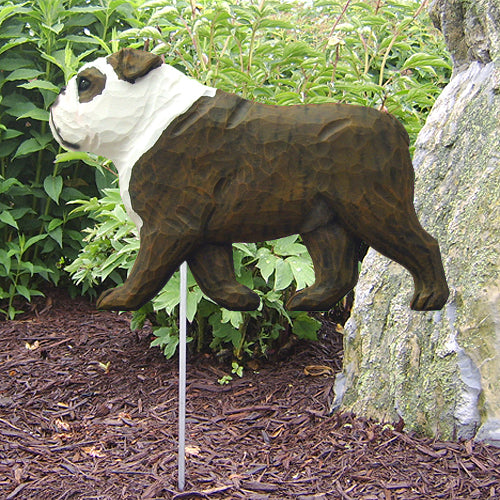 English Bulldog Garden Landscaping Stake Brindle