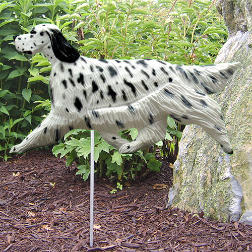 English Setter Garden Landscaping Stake Blue Belton