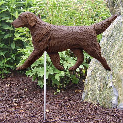 Flat-Coated Retriever Garden Landscaping Stake Black