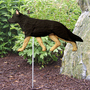 German Shepherd Garden Landscaping Stake Black with Tan Points