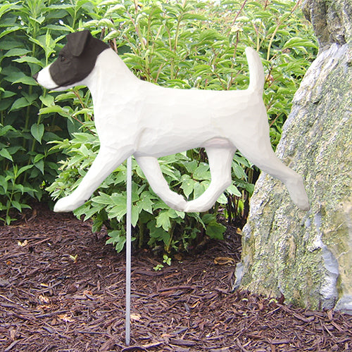 Jack Russell Terrier Garden Landscaping Stake Black and White