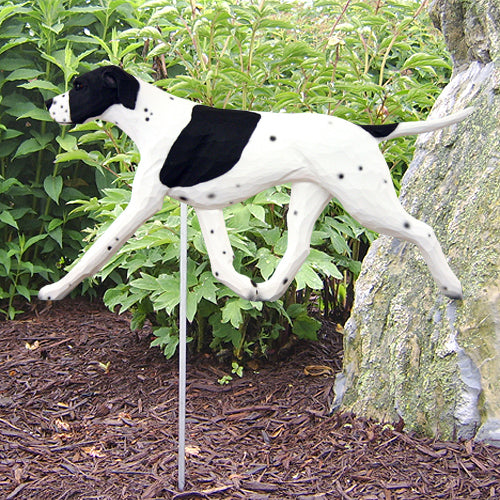English Pointer Garden Landscaping Stake Black and White