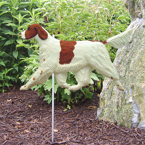 Irish Red and White Setter Garden Landscaping Stake Standard