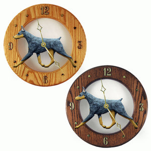 Doberman Hand Carved Wood Hands to tell Time