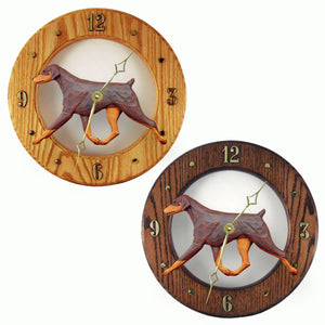 Doberman Natural Dog Style Analog Clock