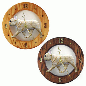 French Bulldog Wall Clock Hand Carved Wood Hands to tell Time