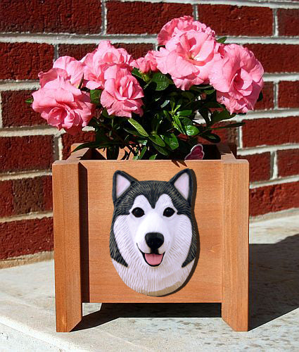 Alaskan Malamute Dog Planter Box Black And White