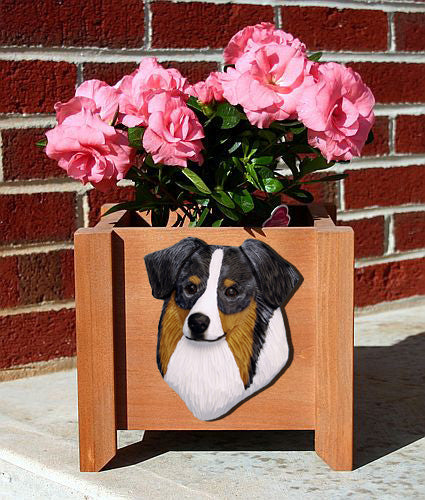 Australian Shepherd Dog Planter Box Black Tri