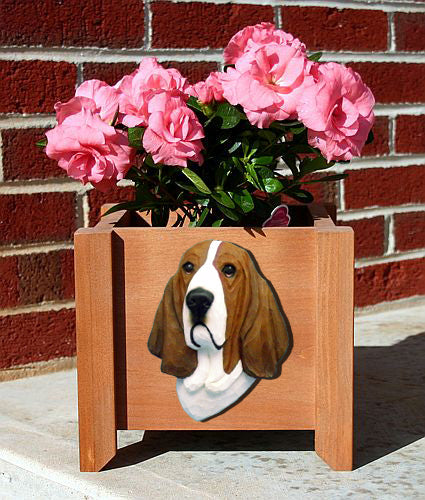 Basset Hound Dog Planter Box Black And White