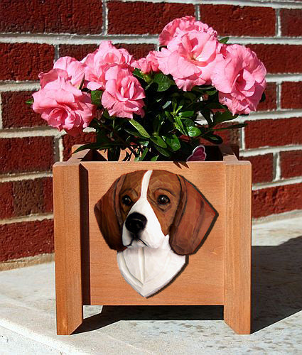 Beagle Dog Planter Box Red