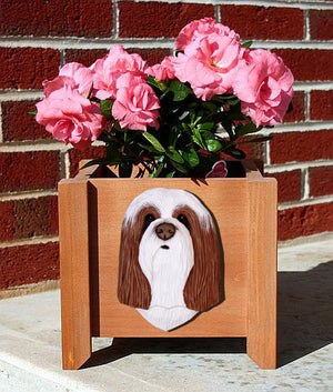 Bearded Collie Dog Planter Box Brown And White