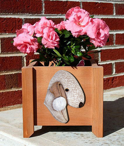 Bedlington Terrier Dog Planter Box Blue