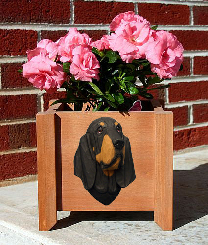 Bloodhound Dog Planter Box Black And Tan
