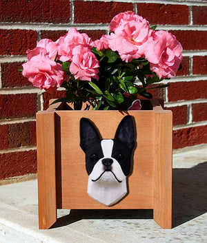 Boston Terrier Dog Planter Box Black