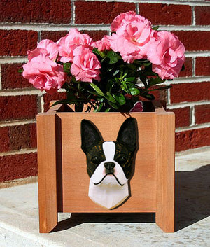 Boston Terrier Dog Planter Box Brindle