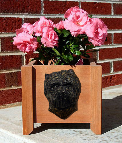 Cairn Terrier Dog Planter Box Black Brindle