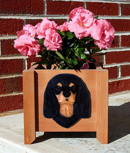 Cavalier King Charles Spaniel Dog Planter Box Black And Tan