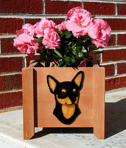 Chihuahua Dog Planter Box Black