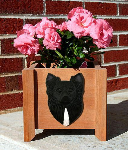 Chihuahua Longhair Dog Planter Box Black