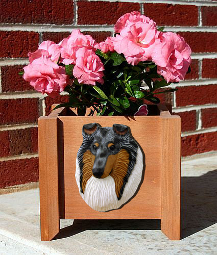 Collie Rough Dog Planter Box Bi Black