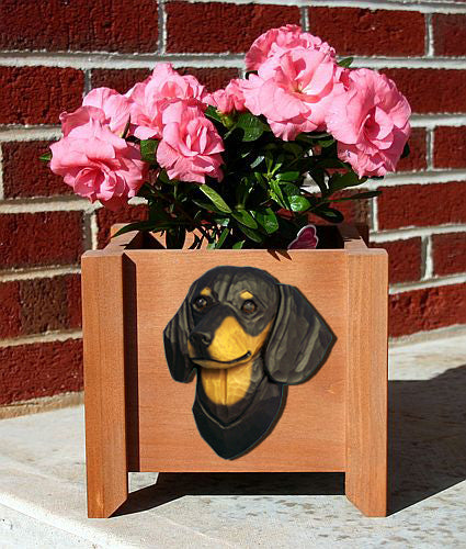 Dachshund Smooth Dog Planter Box Black And Tan