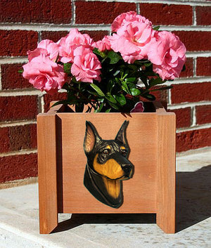 Doberman Dog Planter Box Black And Tan