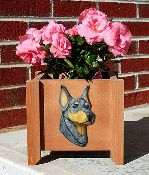 Doberman Dog Planter Box Blue And Tan