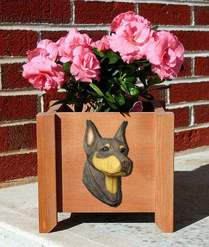 Doberman Dog Planter Box Red And Tan