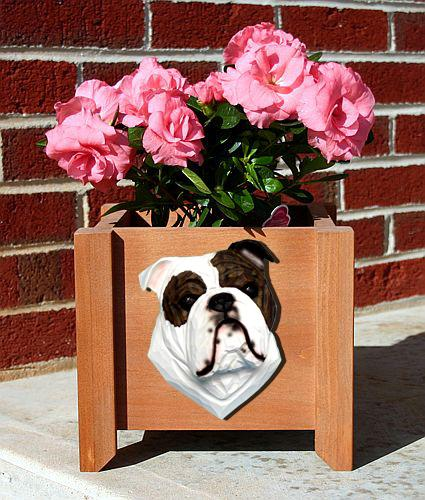English Bulldog Dog Planter Box Brindle
