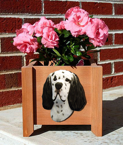English Setter Dog Planter Box Tri
