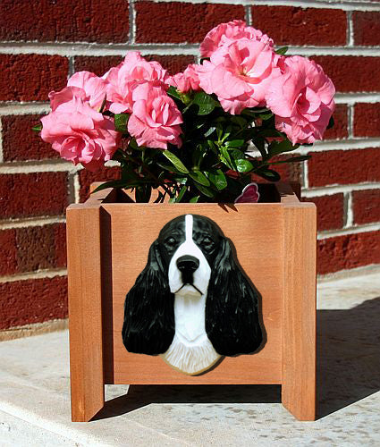 English Springer Spaniel Dog Planter Box Black