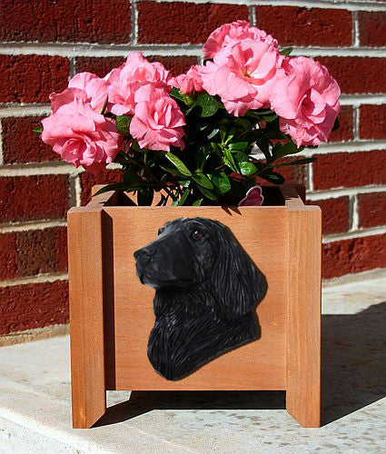 Flat Coated Retriever Dog Planter Box Black