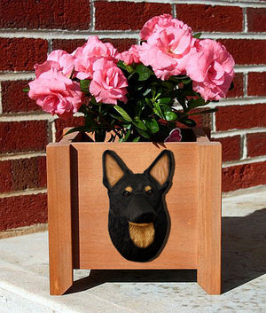 German Shepherd Dog Planter Box Black With Tan Points