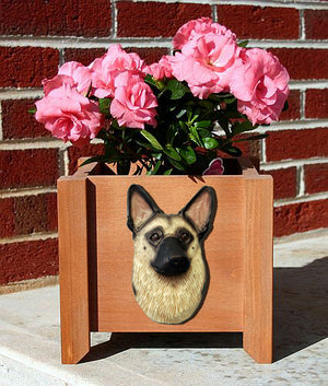 German Shepherd Dog Planter Box Tan With Black Saddle