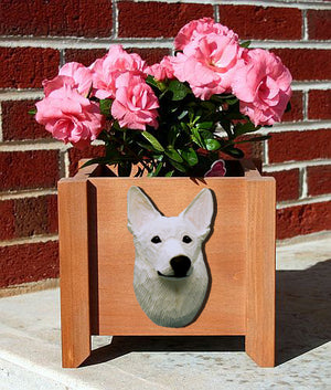 German Shepherd Dog Planter Box White