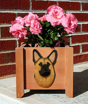 German Shepherd Dog Planter Box Gold With Black Saddle