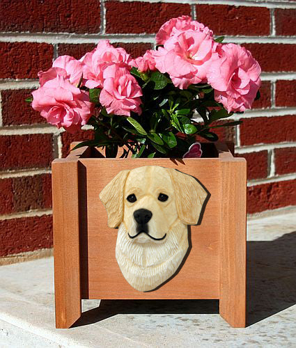 Golden Retriever Dog Planter Box Cream
