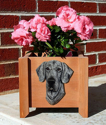 Great Dane Natural Dog Planter Box Black