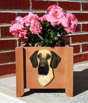 Great Dane Natural Dog Planter Box Fawn