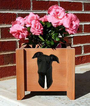 Greyhound Dog Planter Box Black