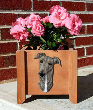 Greyhound Dog Planter Box Blue