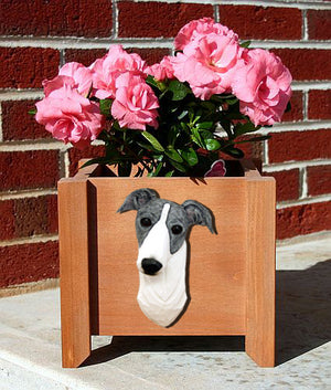 Greyhound Dog Planter Box Blue And White
