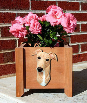 Greyhound Dog Planter Box Fawn