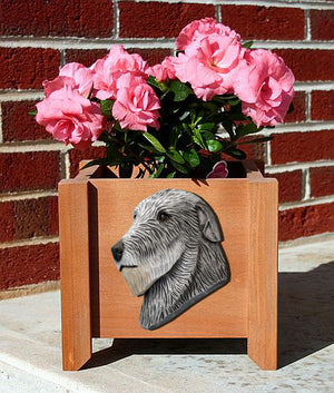 Irish Wolfhound Dog Planter Box Grey
