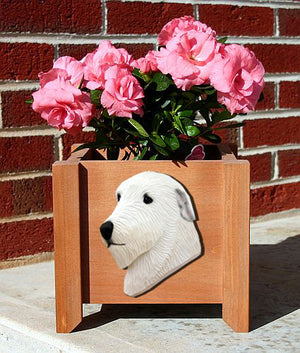 Irish Wolfhound Dog Planter Box White