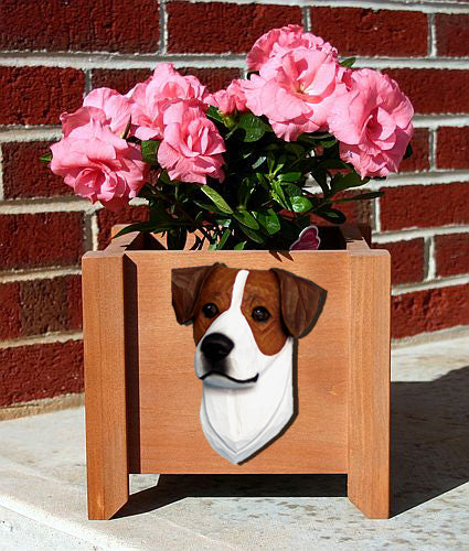 Jack Russell Terrier Dog Planter Box Black And White